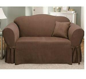 Sure Fit Soft Suede Sofa Slipcover Chocolate Brown For Box
