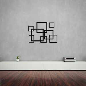 Image Is Loading Wall Sticker Modern Squers Abstract For Living Room  Nice Design