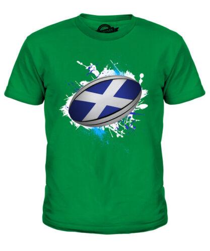 SCOTLAND RUGBY BALL SPLATTER KIDS T-SHIRT TEE TOP GIFT WORLD CUP SPORT