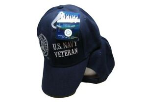 5b375146f52 U.S. Navy Veteran USN Vet Shadow Navy Blue Embroidered Hat Ball Cap ...