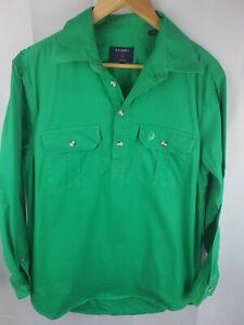 Brumby-Green-Cotton-Half-Button-Shirt-Mens-M