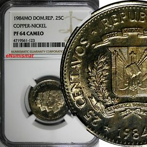 DOMINICAN-REPUBLIC-PROOF-1984-25-Centavos-NGC-PF64-CAMEO-Mirabal-Sisters-KM-61-1