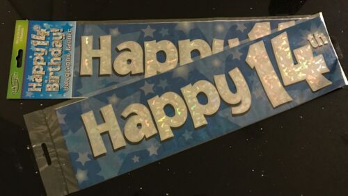 Blue Foil 2.7m will split into 3* 14th Birthday 14th Boys Birthday Banner