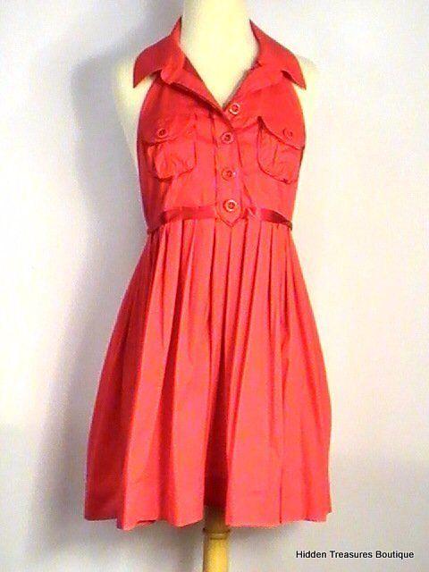 Bebe Damen Rückenfrei Sommerkleid Trägertop Rot Nwt GRÖSSE M