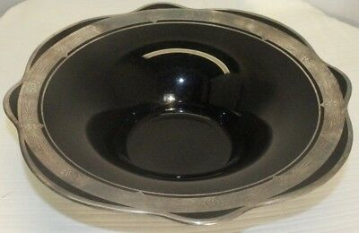 Dishes Glass Precise Antique Art Nouveau Decorative Black Glass And Sterling Inlay Candy Dish Plate