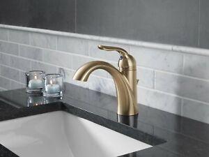 Delta-Faucet-Single-Handle-Bathroom-Faucet-Metal-Drain-Assembly-Champagne-Bronze