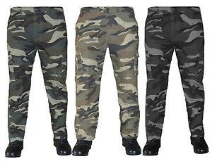 Pantaloni uomo cargo militare mimetico con tasconi cotone Felpato