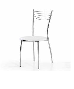 Sedia minimal con struttura in metallo cromato e seduta in for Sedie cucina metallo