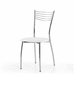Sedia minimal struttura in metallo cromato e seduta ecopelle Bianca ...