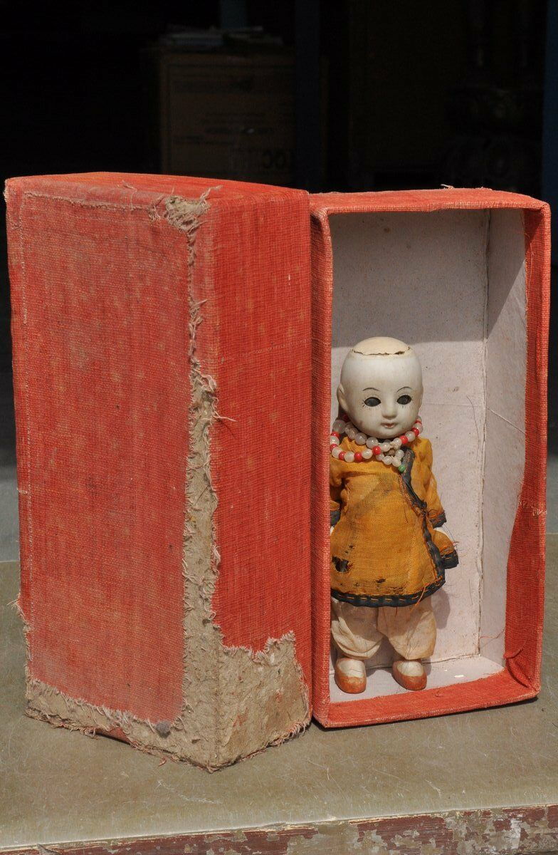 mas barato Vintage en caja con textura de paño paño paño única Payaso Piedra Cerámica Porcelana de juguete, Alemania  venta caliente en línea