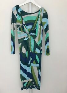 1f83988f355b EMILIO PUCCI GREEN MULTI PRINT LONG SLEEVE V KNOT BACK DRESS SIZE 8 ...