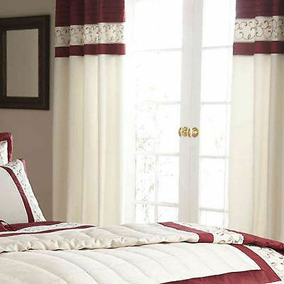 Scroll Red Cream Curtain 66x72 + Tie Backs Matching  Duvet Cover Available