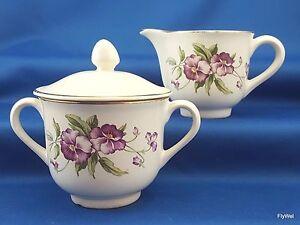 Vintage-Poinciana-China-Ware-Creamer-Covered-Sugar-Bowl-Purple-Flower-Gold-Trim