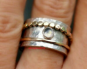 Crystal-Solid-925-Sterling-Silver-Copper-Spinner-Ring-Statement-Meditation-A1301