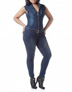 NWT-APPLE-BOTTOMS-Hot-Sexy-Belted-Skinny-DENIM-JUMPER-JUMPSUIT-Romper-9-10