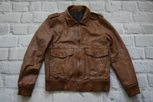 ZARA MAN BROWN REAL LEATHER BIKER JACKET SIZE XL