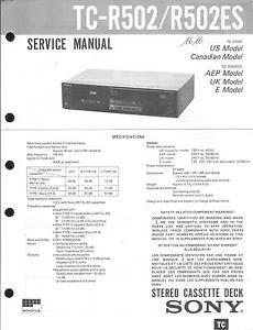 R 502es 2019 Offiziell Tv, Video & Audio Begeistert Sony Original Service Manual Für Tc-r 502
