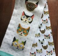 Cynthia Rowley Kitchen Hand Towels Set Of 2 Cats Wearing Glasses W Tags