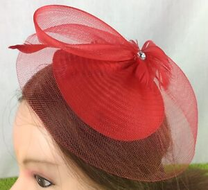 Ladies-Fascinator-Red-Clip-Feathers-And-Beads-Special-Occasion