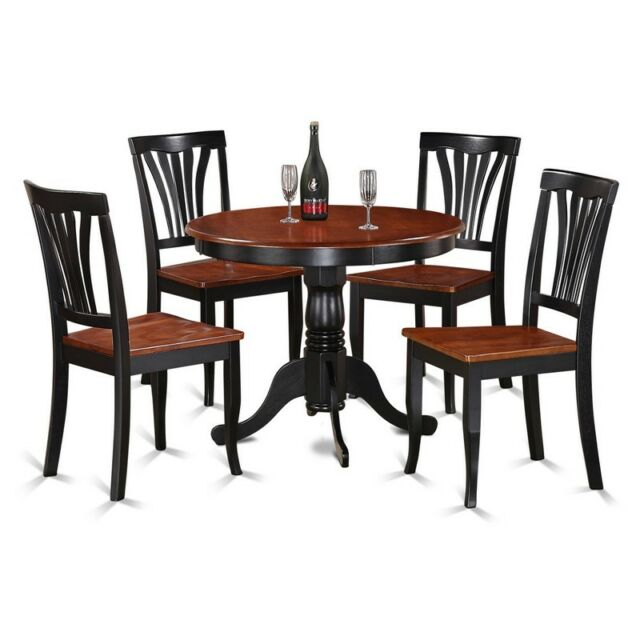 5pc Dinette Kitchen Dining Set Table In Black Cherry With 4 Wood