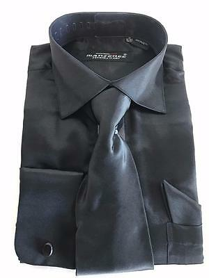 Mansenee Fashion Black Satin French Cuffs Dress Shirt wTie and Pocket Square   eBay
