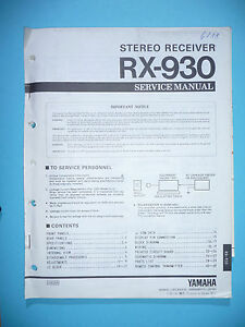 Service Manual Für Yamaha Rx-930 Tv, Video & Audio original