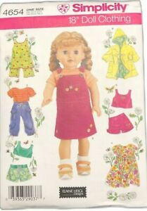 Simplicity-4654-Uncut-Summer-Clothes-Fits-18-Inch-Girl-Dolls-Heigl-Pattern