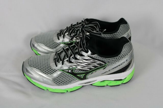 Mizuno Mens WAVE PARADOX 3 Silver Black Green Running Training Shoes Sz 9 NWOB