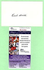 Earl Averill Signed Autograph 3x5 Index Card JSA R31453