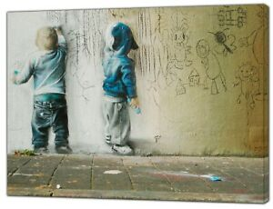 BANKSY-KIDS-PAINTING-PRINT-ON-FRAMED-CANVAS-PICTURES-WALL-ART-HOME-DECORATION