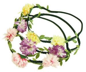 12 NEW Wholesale Floral Flower Garland Stretch Hair Headbands