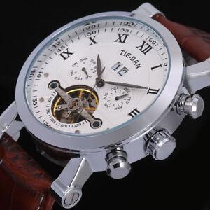 TIE-DAN-Luxus-Armbanduhr-Skelett-Mechanische-Herrenuhr-Datum-Chrono-Uhr-Leder