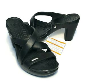 Details about Crocs Cyprus IV heels Womens size 7 BLACK NEW WITH TAGS