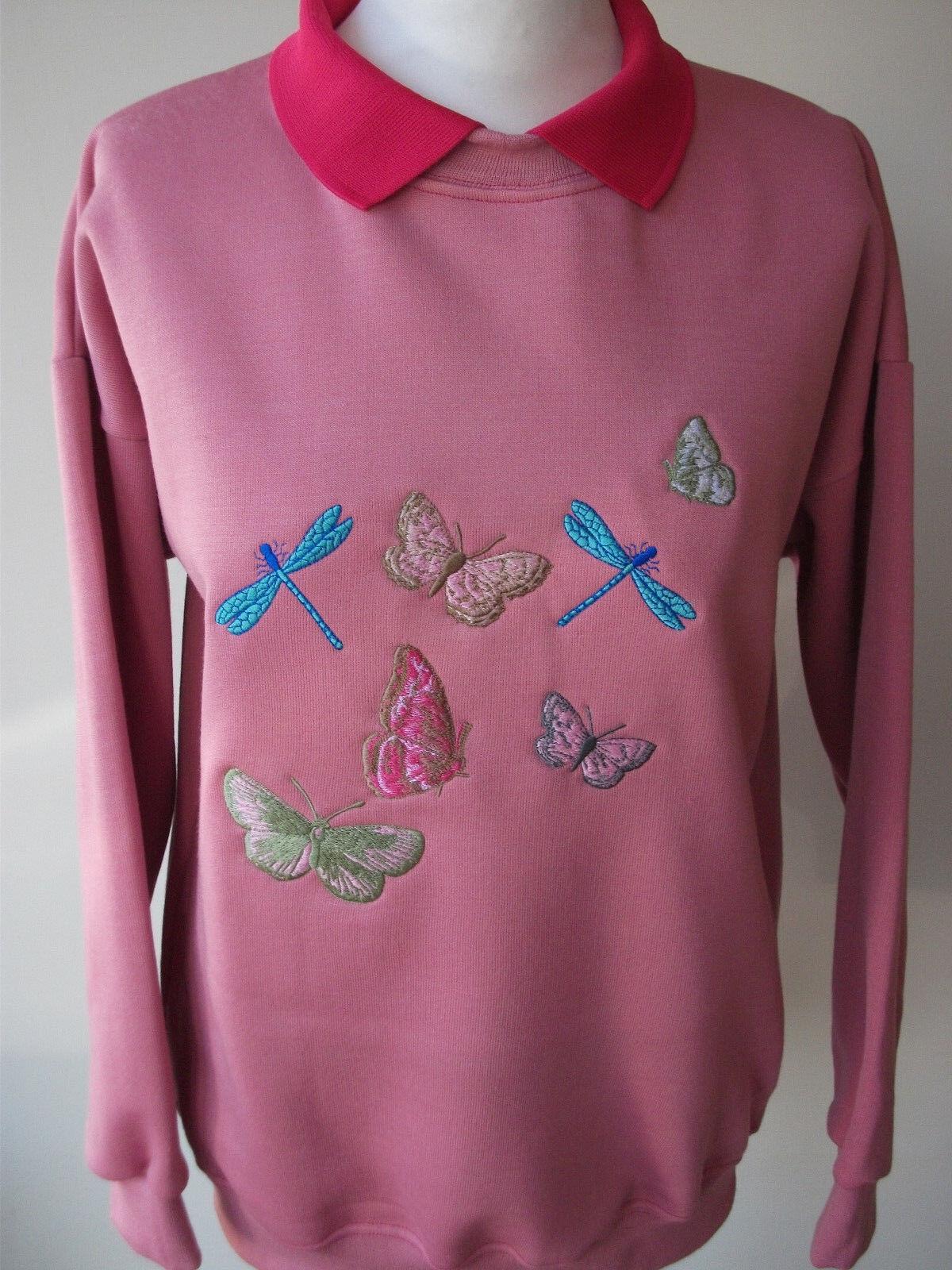 LADIES LADIES LADIES SWEATSHIRT,JUMPER,TOP PINK PINK WITH AN EMBROIDERED BUTTERFLIES DESIGN 5f2adb