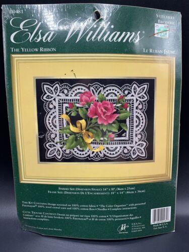 NEW Elsa Williams THE YELLOW RIBBON Crewel Embroidery Kit Roses Ribbons 00481