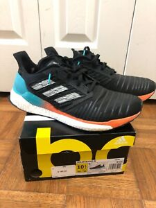 Adidas-Men-039-s-Solar-Boost-Running-Shoe-Black-White-Hi-res-Aqua-Size-10-5-US