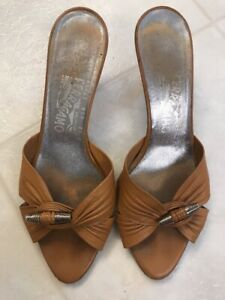 Salvatore-Ferragamo-Vintage-Women-039-s-Tan-Leather-Sandals-Shoes-Size-8-5C