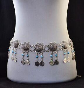 Gypsy Dangle Boho Flower Turkish Shimmy Belt Dance Body Coins Belly Chain