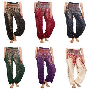 Women-Boho-Baggy-Harem-Pants-Hippie-Wide-Leg-Gypsy-Yoga-Long-Palazzo-Trousers-US