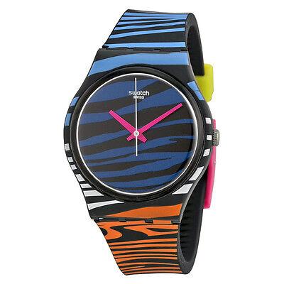 Swatch Blue Zebra Pattern Dial Silicone Rubber Unisex Watch