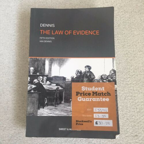 1 of 1 - The Law of Evidence by Professor Ian Dennis (Paperback, 2013)
