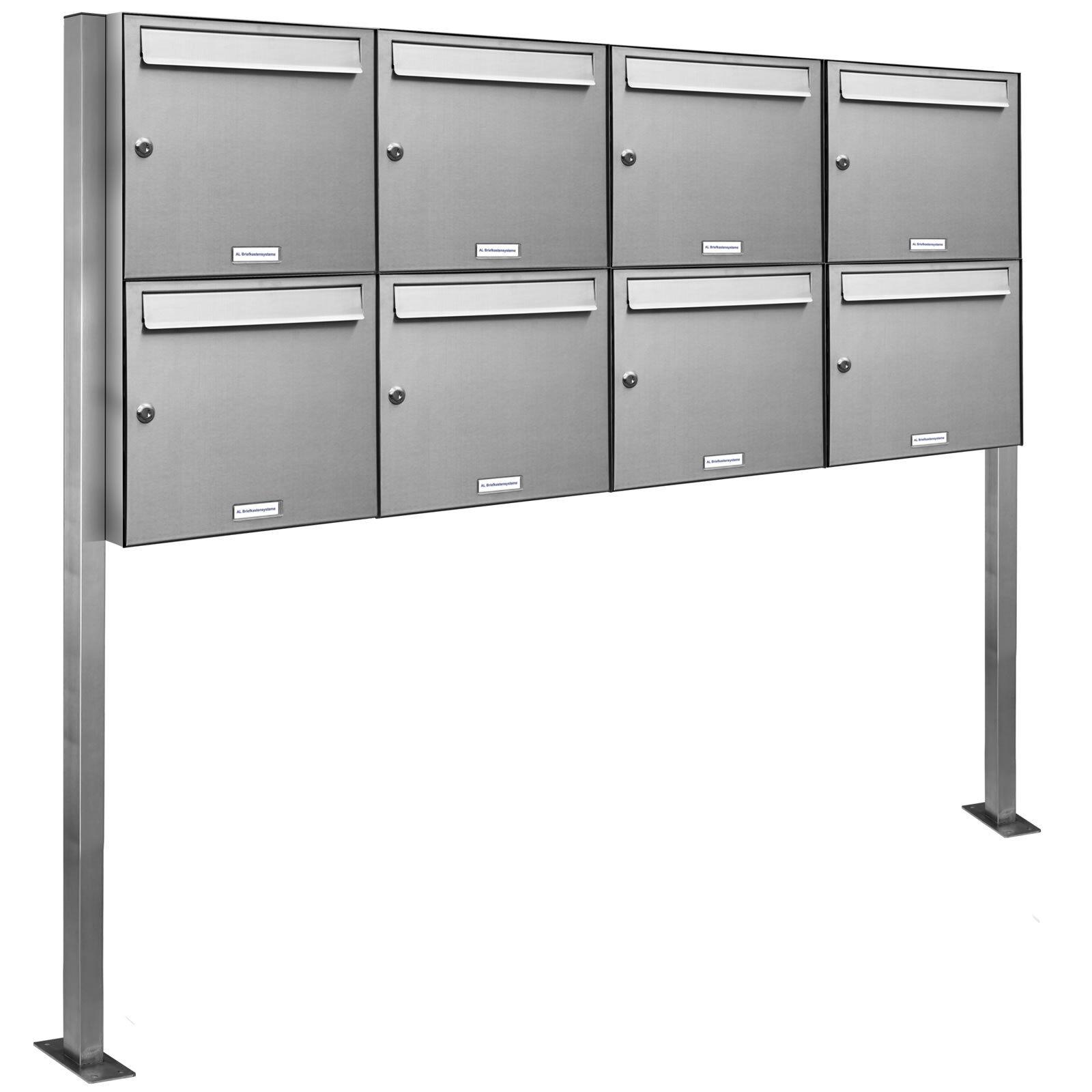 8 er Premium V2A Edelstahl Stand Briefkasten Anlage Postkasten freistehend 4x2