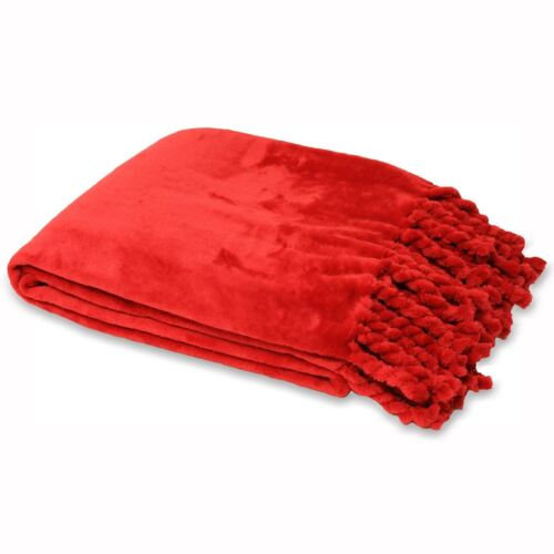 Selkirk Super Doux Rouge Tassel Fringed Fleece Throw Blanket 140 cm x 200 cm