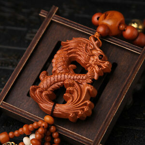 Dragon-Loong-3D-Wood-Carved-Chinese-Feng-Shui-Kallaite-Amber-Beads-Car-Pendant