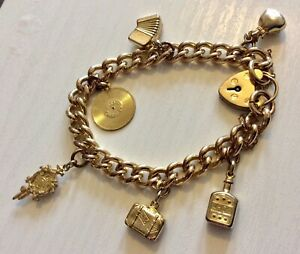 Stunning-Ladies-Early-Antique-Heavy-Rolled-Gold-Filled-Charm-Bracelet-Superb