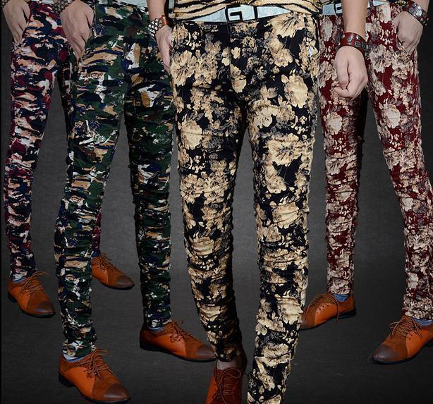 Men's Fashion Cotton Floral Slim Fit Trousers Camouflage Casual Pencil Pants New