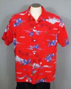 45e82b63c239 Image is loading Aikane-Red-Large-Aloha-Hawaiian-Shirt-Clouds-Flowers-