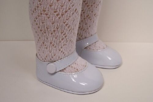 "Debs WHITE Patent Side Snap Doll Shoes For 18/"" American Girl"