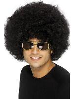 Mens Ladies Black Afro Wig 70's Disco Fancy Dress
