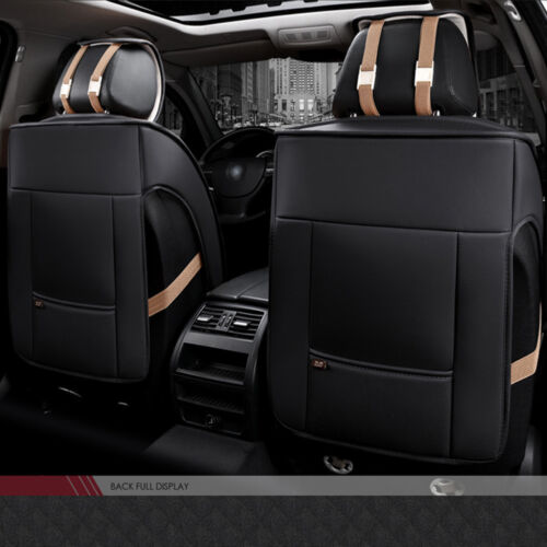 Comfort Black SUV PU Leather Winter Car Seat Cover Set Full Seat Cushion Luxury